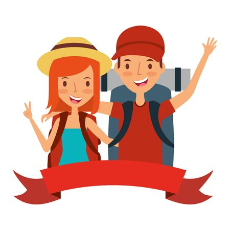 summer time holiday couple with backpack vector illustration