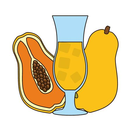 papaya juice fresh tropical fruits vector illustration