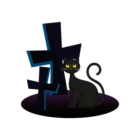 cat with crosses of halloween vector illustration design