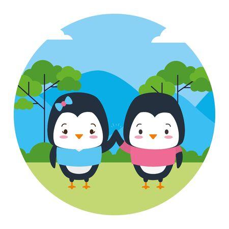 cute couple penguin animal landscape natural vector illustration Ilustração