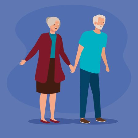 old woman and man couple together over purple background, vector illustration