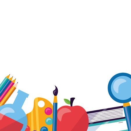 apple paintbrush books pencils back to school vector illustration