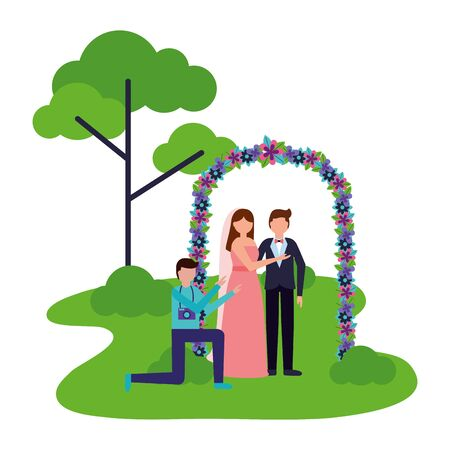 photographer taking picture couple wedding in flower arch vector illustration