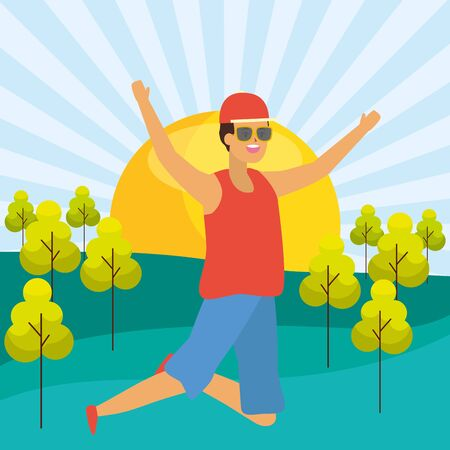 happy man celebrating arms up park vector illustration
