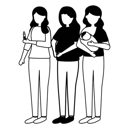 women pregnancy with baby and test scene vector illustration