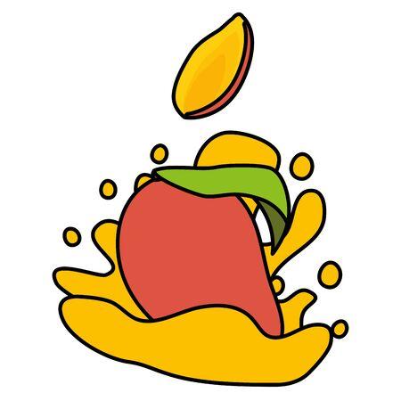 sweet mango juice splash tropical fruits vector illustration