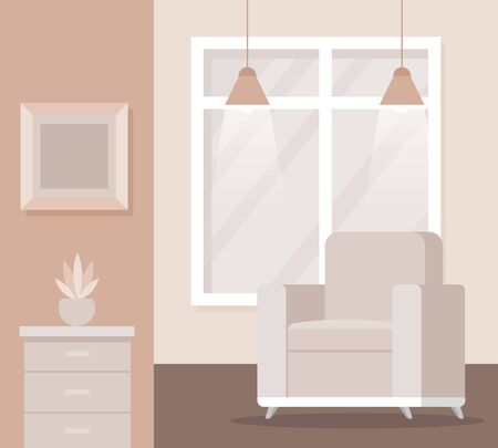 sofa with picture and window with lights and plant in the office, vector illustration