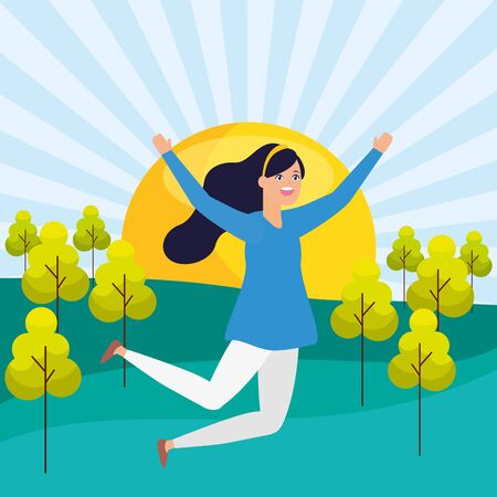 celebrating woman arms up park landscape vector illustration