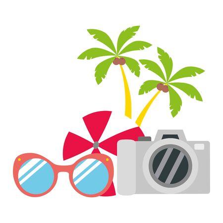 vacations ball sunglasses camera palms vector illustration  イラスト・ベクター素材