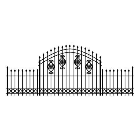 recinzione in ferro cimitero isolato icona illustrazione vettoriale design Vettoriali