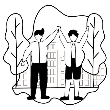two men celebrating in the city park vector illustration white and black