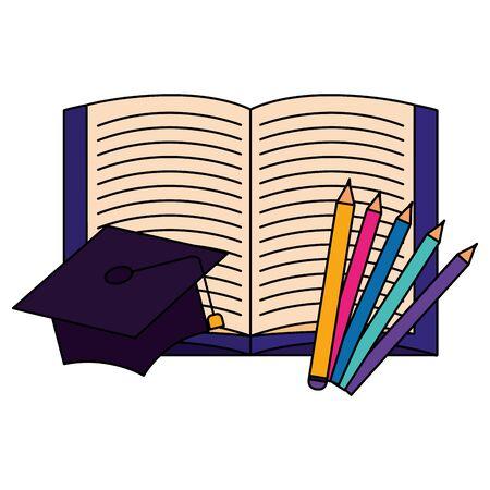 open book graduation hat pencils back to school vector illustration