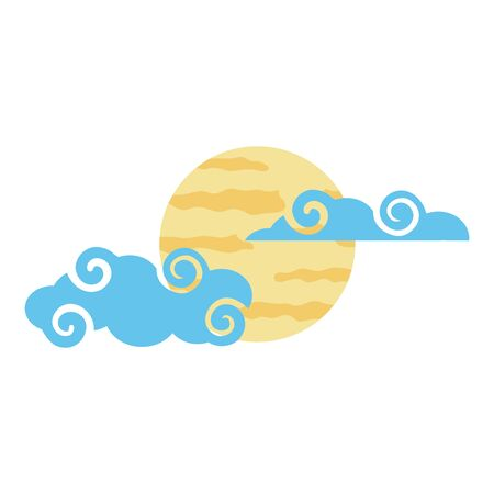Moon and clouds design, Night bedtime sky space moonlight nature and space theme Vector illustration