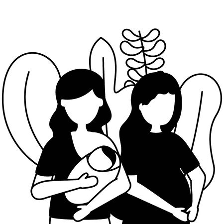 pregnancy woman and mother with baby maternity scene flat vector illustration