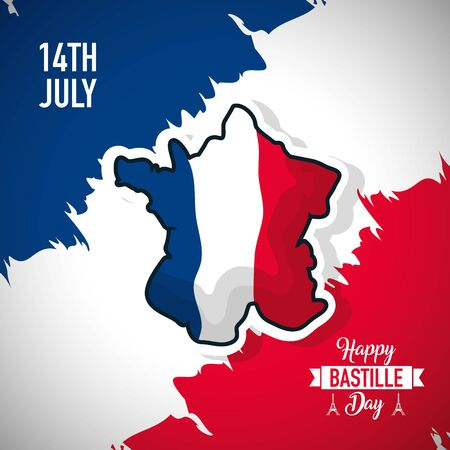 happy bastille day france flag grunge map vector illustration  イラスト・ベクター素材