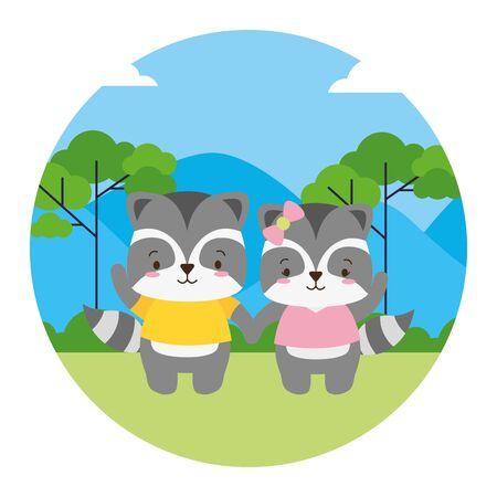 cute couple raccoon animal landscape natural vector illustration