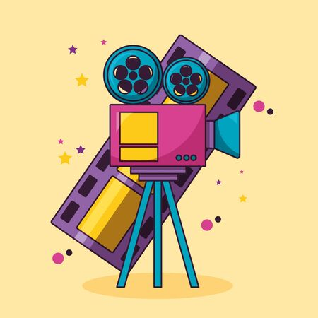 rpojector and film strip cinema movie vector illustration