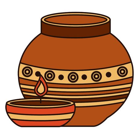 indian ceramic pot with candle flame vector illustration design Standard-Bild - 130222307