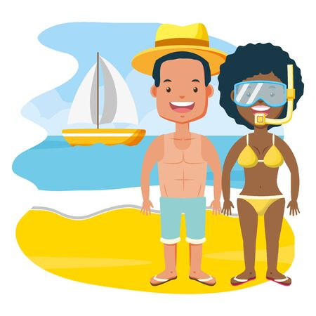 summer time couple with mask snorkel beach vector illustration Illustration