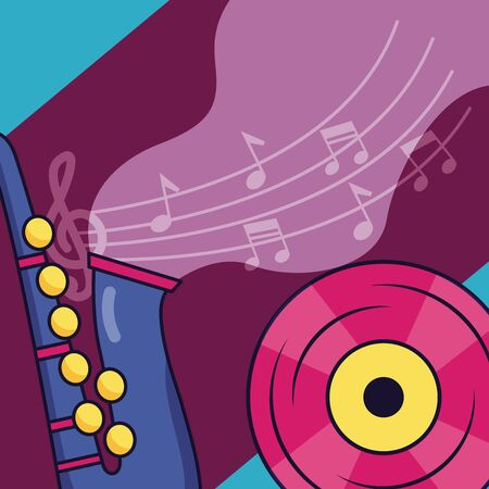 saxophone and vinyl record festival music poster vector illustration 일러스트