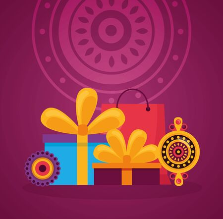 rakhi happy raksha bandhan gifts vector illustration  イラスト・ベクター素材