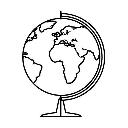 world planet map education icon vector illustration design