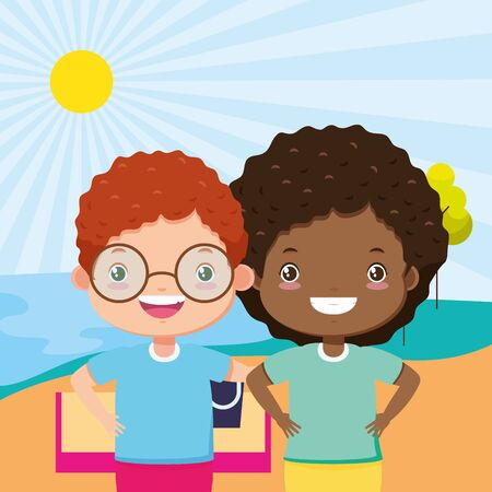 boy and girl in the beach sand sea kids zone image vector illustration