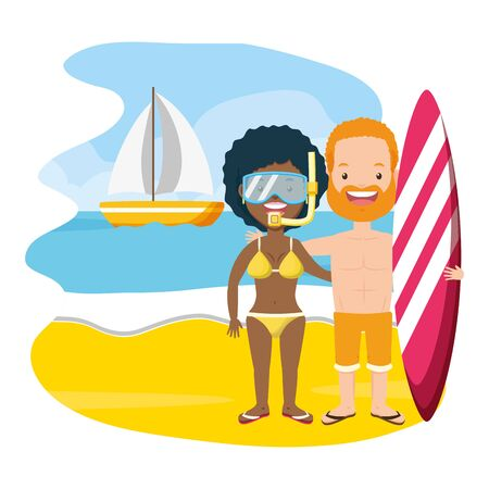 summer time couple with surfboard and mask snorkel beach vector illustration Illustration