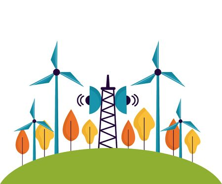 renewable energy antenna windmill tree forest vector illustration