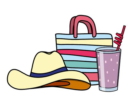 summer time holiday hat handbag and juice vector illustration