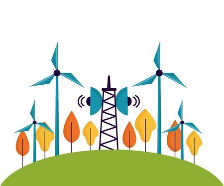 renewable energy antenna windmill tree forest vector illustration