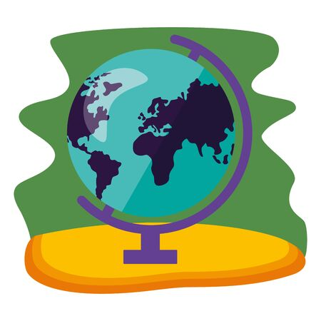 map world green background back to school vector illustration
