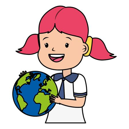 girl student with world map back to school vector illustration