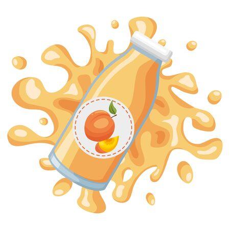 splash juice bottle peach tropical fruits design vector illustration