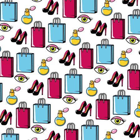 background high heel shoes shopping bag fragrance eyes pop art elements vector illustration Stockfoto - 130222877
