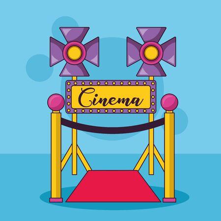 billboard carpet lights cinema movie vector illustration