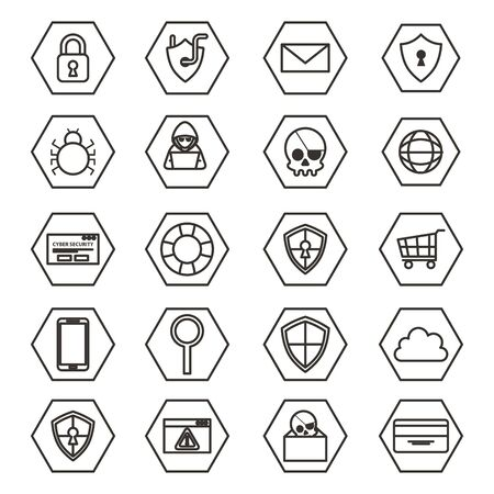 bundle of cyber security monochrome set icons illustration design
