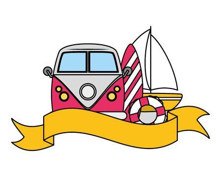 summer time holiday car sailboat surfboard and lifebuoy illustration