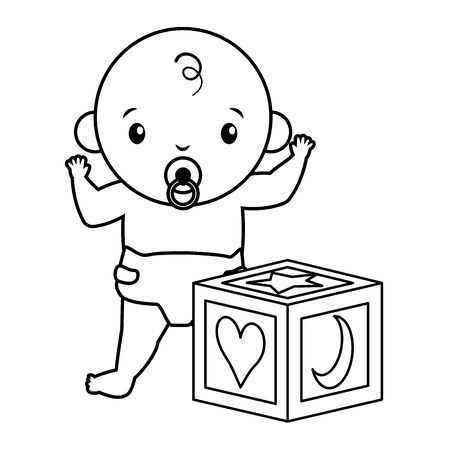 cute little baby boy with cube toy vector illustration design