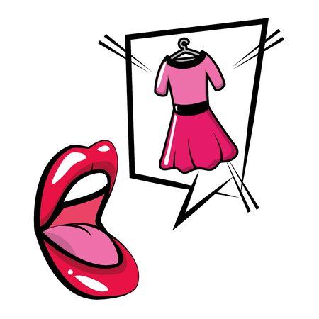 open mouth dress speech bubble pop art vector illustration