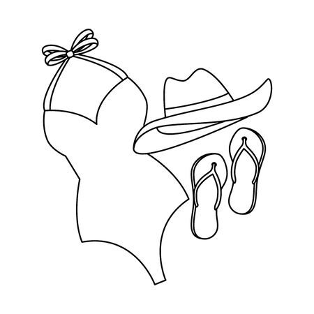 female swimsuit with hat and sandals vector illustration design