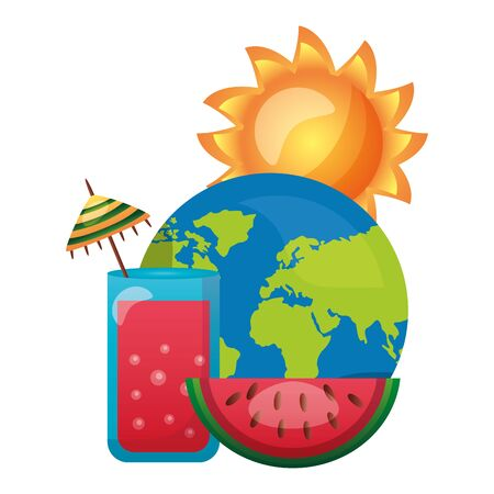 summer time holiday world cocktail sun watermelon vector illustration Banque d'images - 130263370
