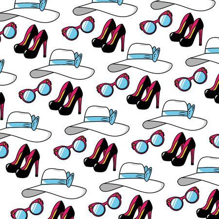 background high heel shoes eyeglasses hat pop art elements vector illustration