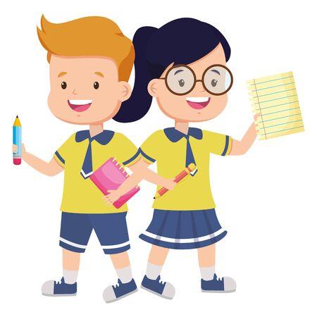 Garçon et fille étudiant avec crayon feuille de livre retour à l'illustration vectorielle de l'école Vecteurs