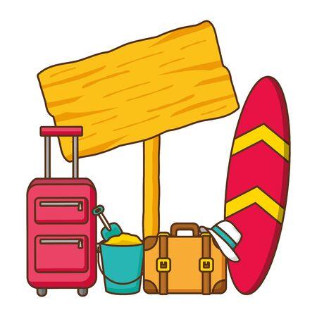 suitcases hat surfboard bucket guideboard vector illustration