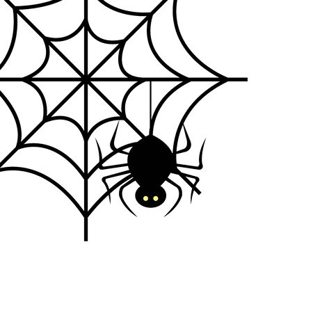 spider of halloween in cobweb vector illustration design 矢量图像