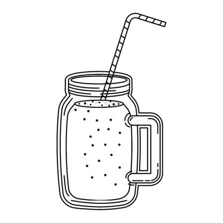barattolo di bevande alla frutta succo con disegno di illustrazione vettoriale di paglia