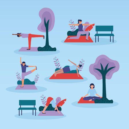 yoga outdoor park women doing exercises vector illustration Foto de archivo - 130275920