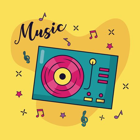 turntable vinyl record music colorful background vector illustration
