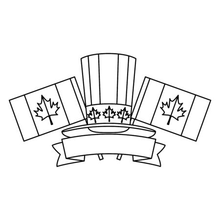 canadian tophat culture with flags frame vector illustration design Standard-Bild - 130275960